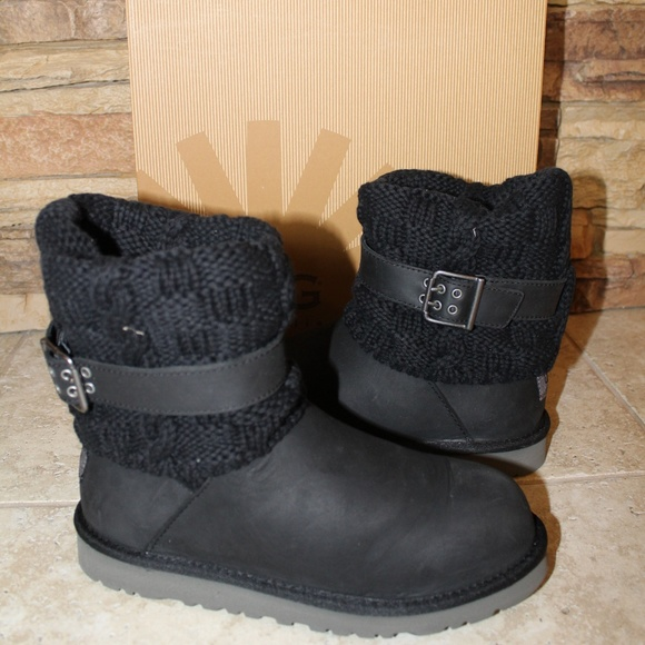 36a5dc6497c UGG Youth CAMBRIDGE Leather Sweater Boots Boutique